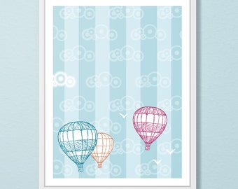 Hot Air Balloon Wall Art - Nursery Wall Art- Original Illustration - Hot Air Balloon Art Print - Blue Kid's Room Decor - Cheerful Wall Art