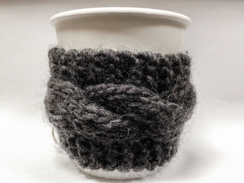 Eco-friendly Coffee Cozies  Gray Wool Cable Knit image 0