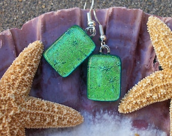 Lime Green Dichroic Glass Dangle Earrings