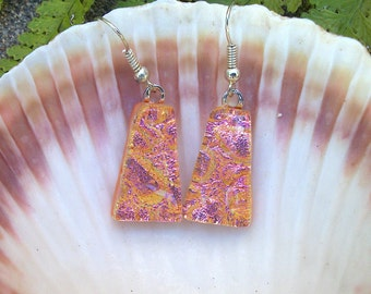 Bright Sparkly Peachy Pink Dichroic Glass Dangle Earrings