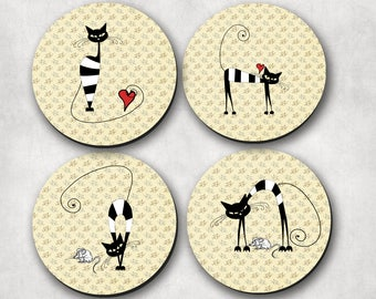 Coasters - drink coasters, cat coasters, minimalist cat coasters, Cat Mama, Rescue, Cat, Kittens - (0010)