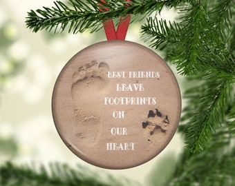 In Memory Pet Memory Ornament - Foot and Paw print on the sand, Dog  - OR1009.