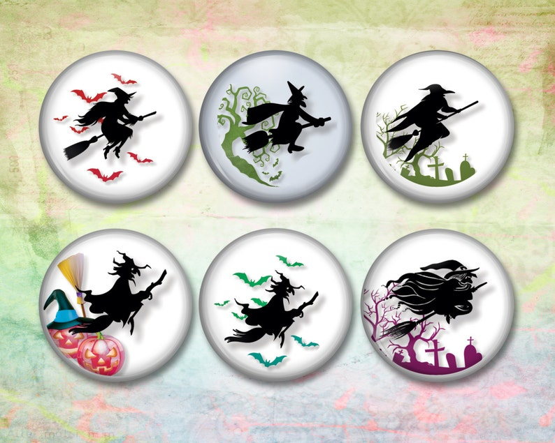 Halloween Witches   3D Button Magnets Kitchen Fridge Magnets image 0