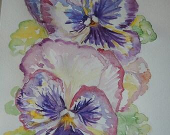 Pansy Watercolour Flower Painting Original Watercolour Painting, Floral flower art Australian pansy art Purple Pansy Painting spring flowers