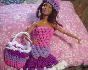 Handmade Barbie Doll Clothes Hand Crocheted Doll 3 Piece Etsy