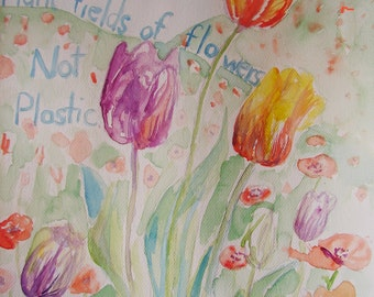Tulip Watercolour Painting, Original Art Watercolour Flower, Floral art, Australian, Red tulip painting, Environmental Paintings of tulips