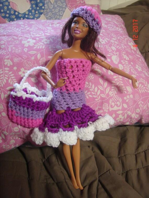 Gehäkelte Barbie Kleid Von Hand Gehäkelte Barbie Puppenoutfit Etsy