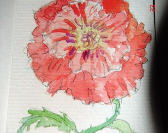 ACEO Flower Painting, 'Red Poppy' - Original aceo miniature watercolour poppy painting, floral ACEO, collectors trading card, poppy art