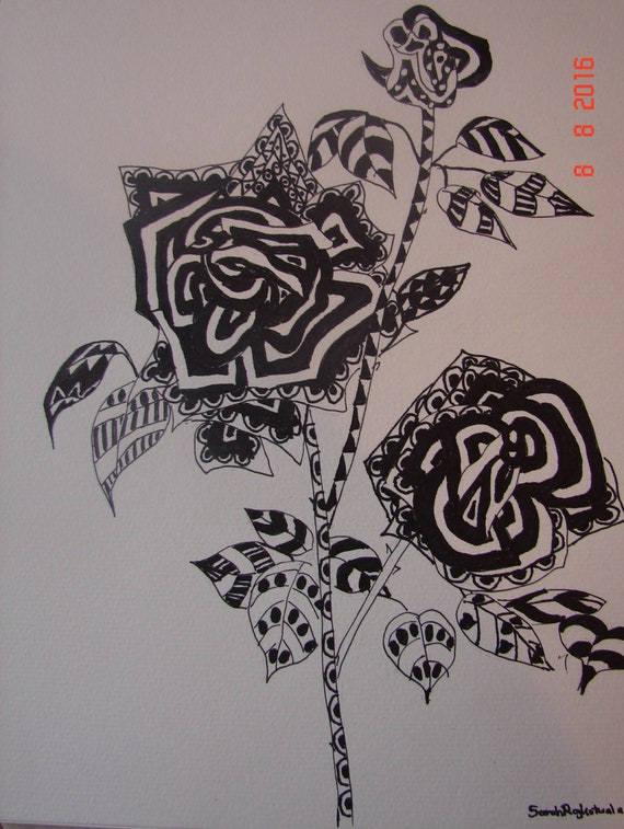 Rose Zentangle Ink Pen Drawing Abstract Modern Art Original Funky Retro Roses Floral Flower Wall Art Decor Black And White Drawings Of Roses