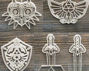 Zelda Cookie Cutters, Majoras Mask, Hylian Crest, Hylian Shield, Master Sword, Loz, Skull Kid, Nintendo Video Game
