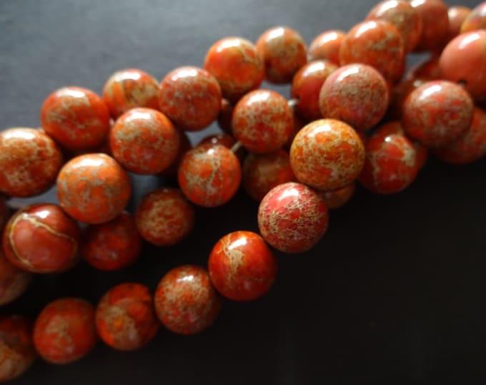 10mm Natural Regalite Ball Beads, Dyed & Heated, 16 Inch Strand, About 39 Dark Orange Gemstone Beads, Natural Stone, Marbled, Swirled