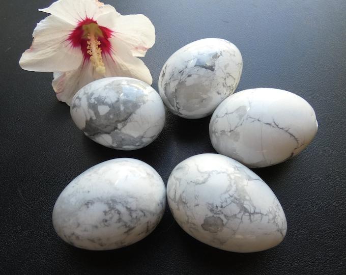 50x38mm Howlite Egg, Natural Gemstone, Free Acrylic Stand, Large Worry Stone, Meditation, Stone Egg and Stand, Fidget Egg, White Stone