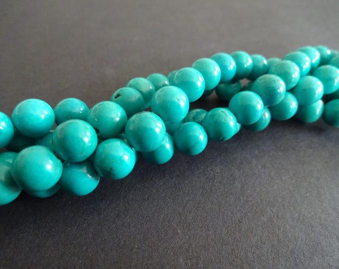 8mm Natural Turquoise Beads, Dyed, 50 Beads Per Strand, 8mm Diameter, Round Ball Bead, Real Sinkiang Turquoise Mineral, Real Stone, Polished