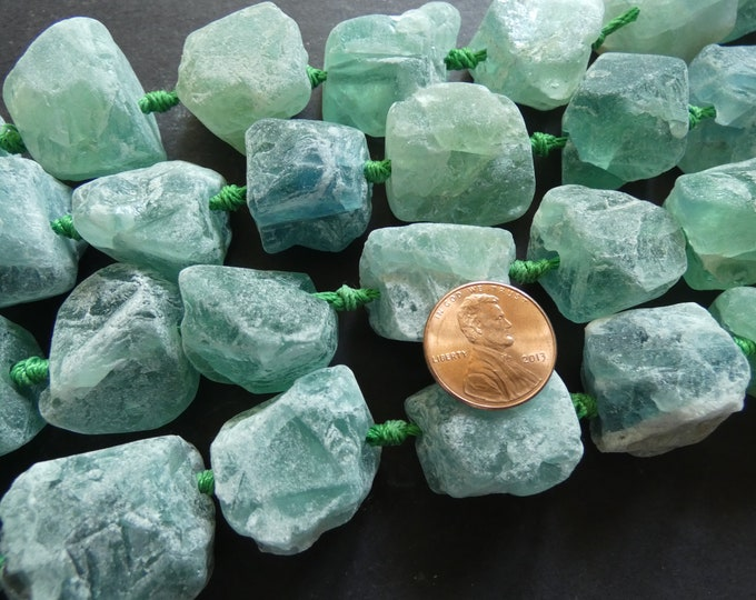 16+ Natural Fluorite Beads, 16+ Inch Strand, 18-37mm, Extra Large, Unpolished, Unfinished, Gemstone, Stone Bead, Green Fluorite