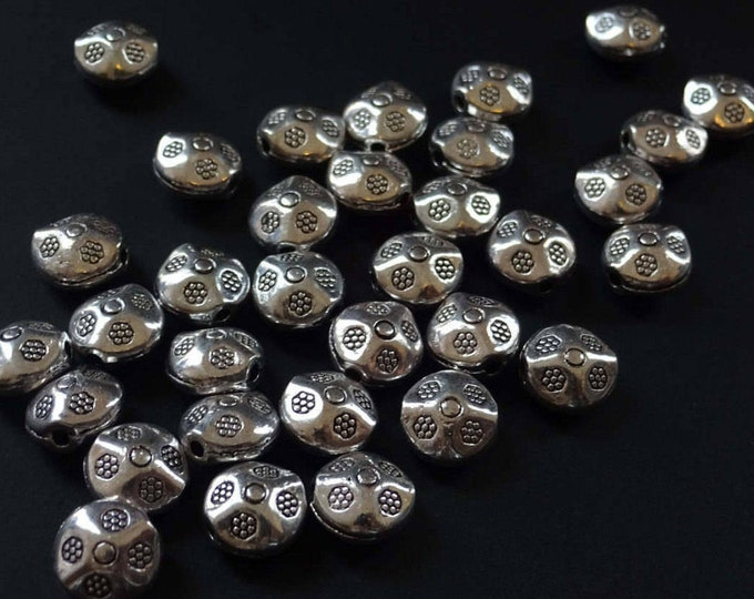 9mm Antique Style Floral Flat Round Beads, Tibetan Silver, Antique Silver Color, Etched Flower Design, Metal Bead, Silver Color, Engravings