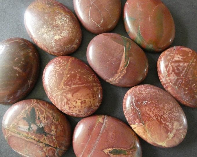 40x30mm Natural Picasso Jasper Cabochon, Dark Brown, Oval Swirled Stone, Polished Gem, Natural Gemstone, Neutrals, Extra Large Jasper Stone