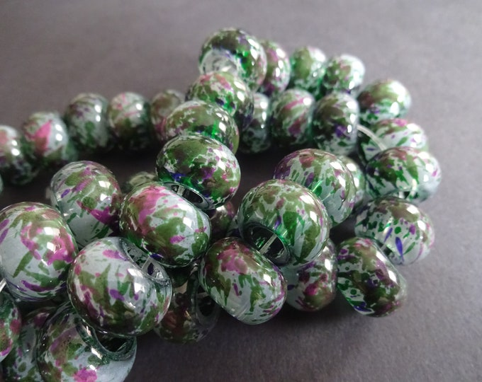 15x10mm Spray Painted Glass Beads, Rondelle, Colorful Bead, Gray, Mauve and Green, Transparent, Round, Colored, Large Rondelle, Large Hole