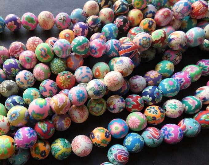 16 Inch 12mm Polymer Clay Ball Bead Strand, About 34 Beads, 12mm Round Clay Beads, Mixed Colors, Floral Patterns, Flower Design, Mixed Lot