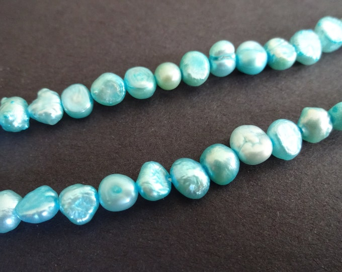 15 Inch Strand Cultured Freshwater Pearl Beads (dyed), About 60 Beads, Teal, 4-5mm Flat Sided Potato, Pearls, Blue Color Pearl, Bright Pearl
