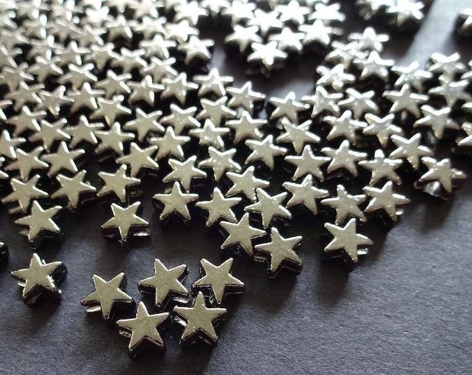 5x6mm Brass Gunmetal Star Bead, Metal Spacer, Star Spacer, Small Metal Spacer, Antiqued Metal Silver Star, Jewelry Making Idea, 1.5mm Hole
