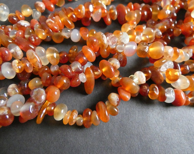 15-16 Inch 4-14mm Strand Natural Red Agate Bead Strand, Dyed, About 110 Nugget Beads, Agate Chips, Polished, Drilled Stone, Orange-Red