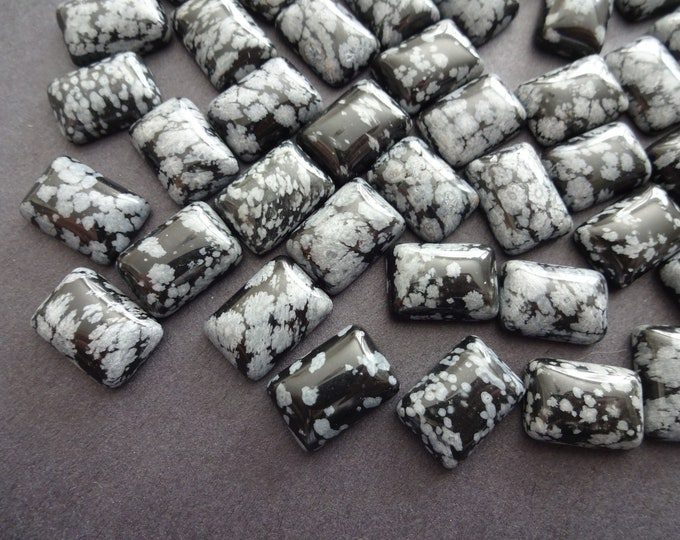 14x10mm Natural Snowflake Obsidian Cabochon, Rectangle Gemstone Cabochon, Black and Gray Stone, Polished Gem, Spotted Design, Black Obsidian