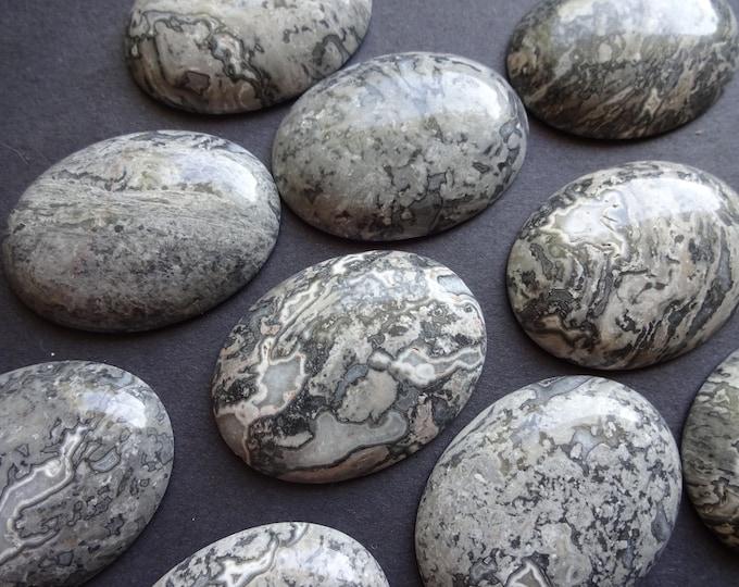 40x30mm Black Silk Stone and Netstone Cabochon, Gemstone Cabochon, Oval, Gray, Swirled, Polished Gemstone Cabochon, Large Focal, Extra Large