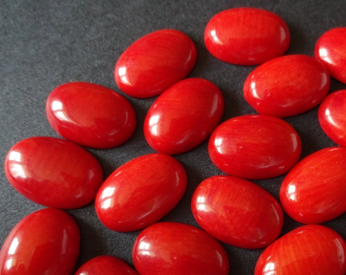 14x10mm Natural Coral Cabochon, Dyed, Oval Cabochon, Polished, Coral Cabochon, Red Coral Gemstone, 14x10x4mm, Classic, Vintage Jewelry