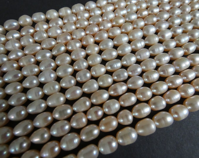 14 Inch 6-7mm Natural Freshwater Pearl Bead Strand, About 50 Beads, Rounded Rice Shape, Peachy Pink Pearl Beads, Pearl Jewelry Making