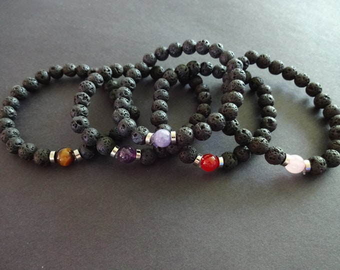 Natural Lava Stone and Gemstone Stretch Bracelet, 5 Colors,  8mm Stone Ball Beads, Black Lava Stone With Natural Gemstone, Stretchy