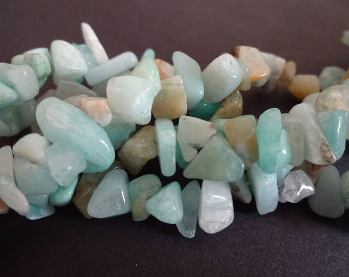 Over 300 Natural Amazonite Chip Beads, Natural Stone Beads, Light Blue Beads, Amazonite Strand, Bead Stone Nuggets, Mixed Size Rock Chips