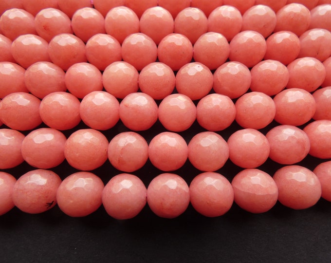 14.5 Inch 10mm Natural Malaysia Jade Pink Bead Strand, Dyed, About 37 Faceted Round Bead, Salmon Pink Jade, Natural Gemstone Beads, 1mm Hole