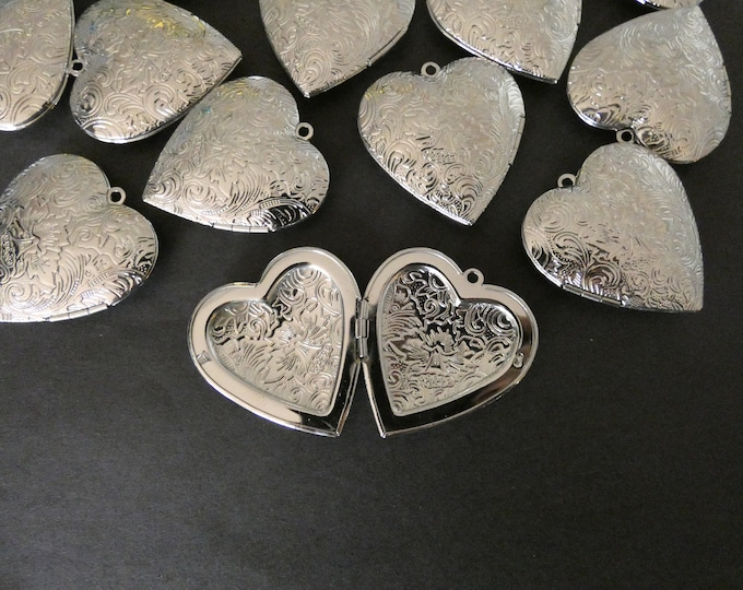42mm Brass Floral Heart Locket Pendant, Silver, Heart Pendant With Flower Engraving, Metal Focal, DIY Jewelry Making, Photo Locket Charms