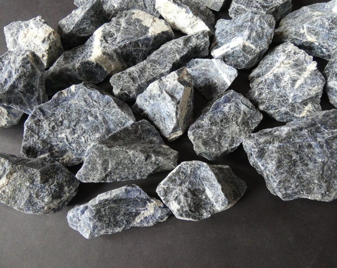 1 POUND Natural Raw Sodalite Stones, 4-6 PIECES, 1 To 4 Inch Chunks. Mix Of Large & Small Rock Geodes, Undrilled, Unpolished, Blue Sodalite