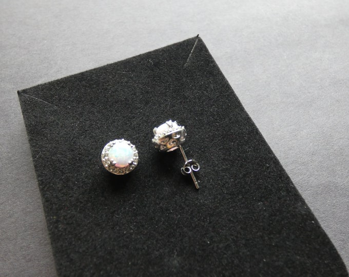 Sterling Silver & Natural Opal and Topaz Stud Earrings, 2.1 Ct, Dangles, Women's Stone Jewelry, Round White Gemstone, Opalescent, Rhinestone