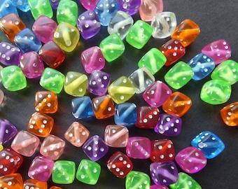 50 Transparent Acrylic Cube Dice Style Beads Charm Craft 8x8mm Kids DIY Bead