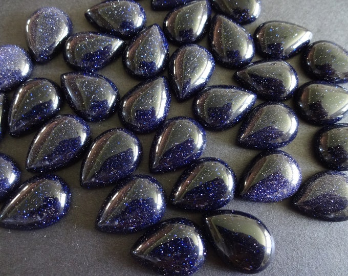 18x13mm Blue Goldstone Cabochon, Synthetic Teardrop Gemstone Cabochon, Blue Stone, Polished Gem, Glittery, Golden Flecks, Sparkly, Navy Blue