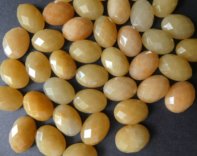 18x13mm Natural Topaz Jade Gemstone Cabochon, Faceted Cab, Oval, Polished Stone, Yellow Cabochon, Natural Stone, Jade Stone, Gemstones