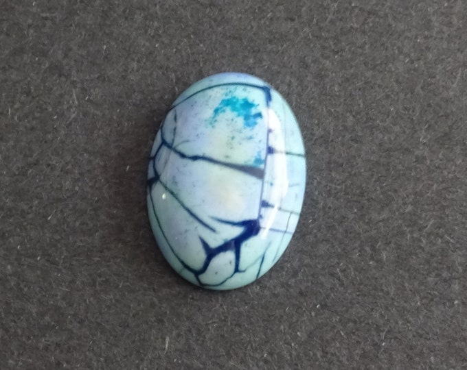 25x18x6mm Natural Fire Agate Cabochon, Large Oval, Blue , One Of A Kind, As Seen In Image, Only One Available, Unique Fire Agate Cabochon