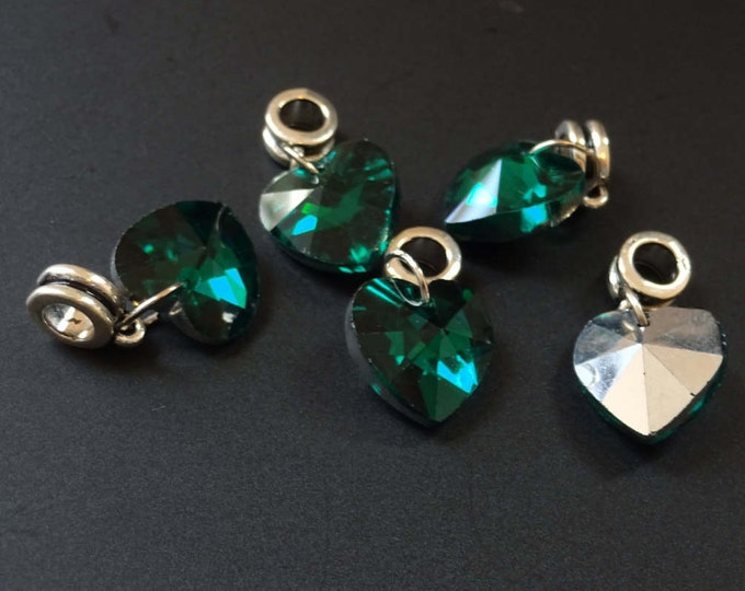 5 Pack of 25mm Green Heart Pendant, Dangle Glass Heart, Electroplated Heart Focal, Glass Focal, Dangle Heart, Teal Pendant, Faceted Heart