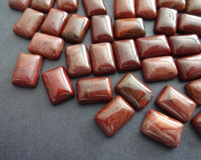 14x10mm Natural Red Jasper Cabochon, Rectangle Gemstone Cabochon, Red Stone, Pretty Gem, Polished Gem, Jasper Gemstone, Solid Red-Brown