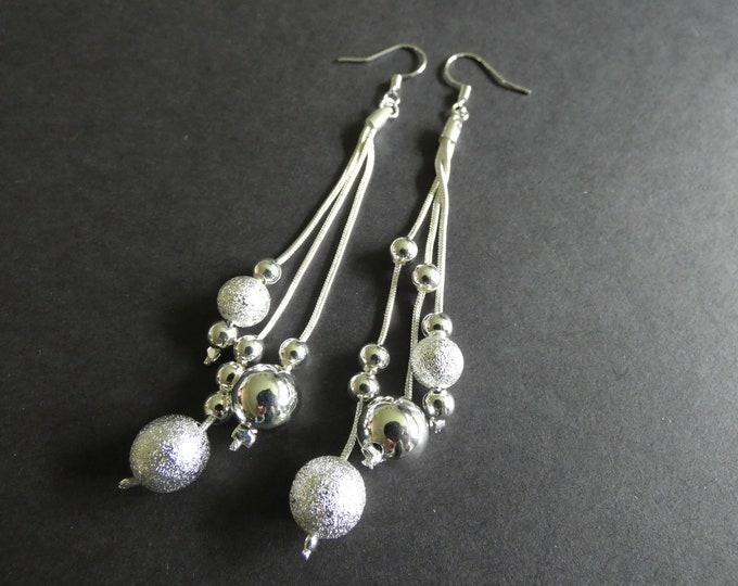 Brass Dangle Bead Earrings, Silver Color Metal, Stardust Design, Fish Hook, Dangling Pair Of Women's Earrings, Pierced Ears, Multi-strand