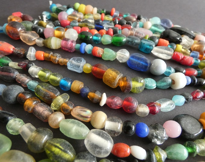 15.5-16 Inch Mixed Glass Bead Strand, 6-22mm, About 30-50 Beads, Shape & Size Variety, Glass Bead Mixed Lot, Interesting Handpicked Bead Lot