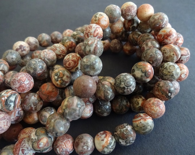 15.5 Inch Strand Natural Leopardskin Bead Strand, Ball Bead, About 47 Beads, 8.5mm Bead, Natural Gemstone, Earthtone Bead, Leopard Skin, Gem