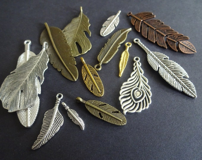 Mixed Feather Pendant Set, Alloy Metal Pendant, 29-86x5-41x1-2mm, Antiqued, Vintage Theme, Bohemian Jewelry, Silver, Gold and Bronze Colors