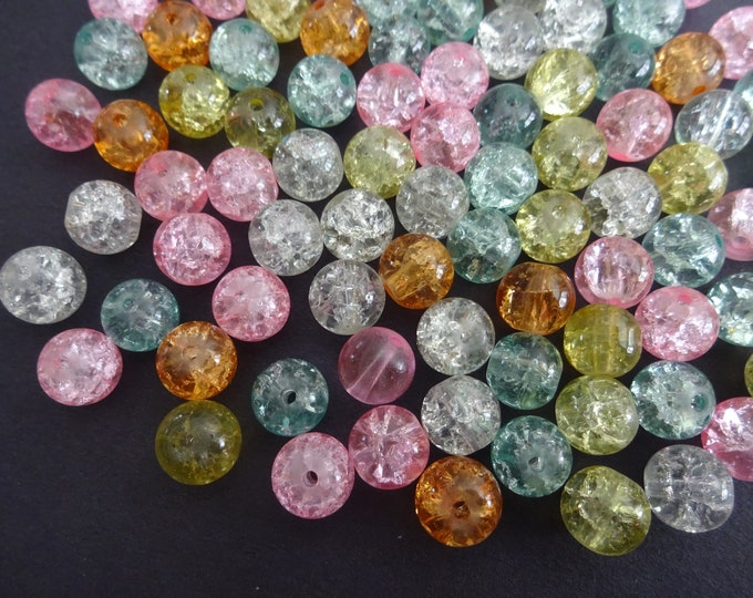 8mm Crackle Glass Ball Bead Mix, Pretty Pastel Mix, Mixed Lot, Transparent, Pink Theme Jewelry Beads, Round, Orange, Pink and Clear