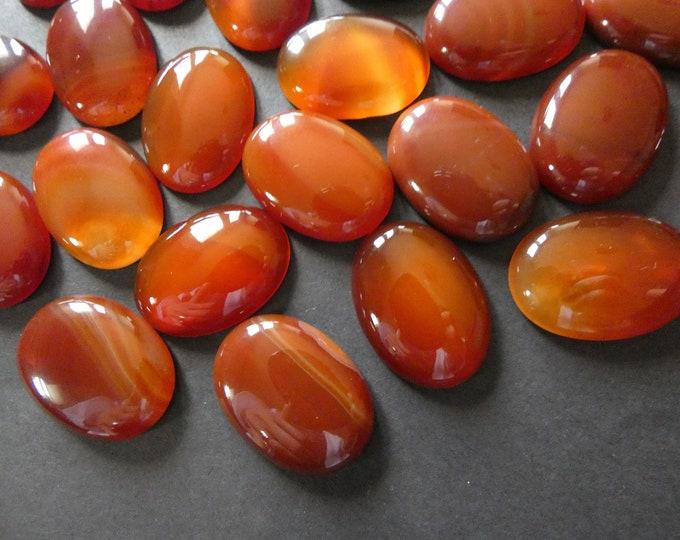 30x22mm Natural Carnelian Gemstone Cabochon, Dyed, Oval Cabochon, Polished Gem, Red Orange Carnelian, Natural Stone, Large Carnelian Cab