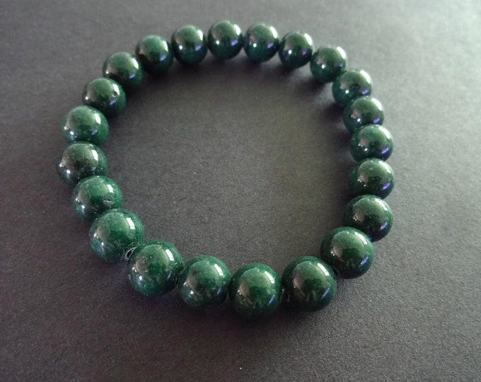 Natural Mashan Jade Stretch Bracelet, 8mm Ball Beads, Stretchy Nylon Cord, Handcrafted Stretch Bracelet, Dark Green Gemstone Jade Ball Beads