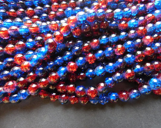 31 Inch 6mm Strand Crackle Glass Bead Strand, 6mm Beads, About 133 Beads Per Strand, Round, Semi Transparent, Blue & Red, Spray Painted