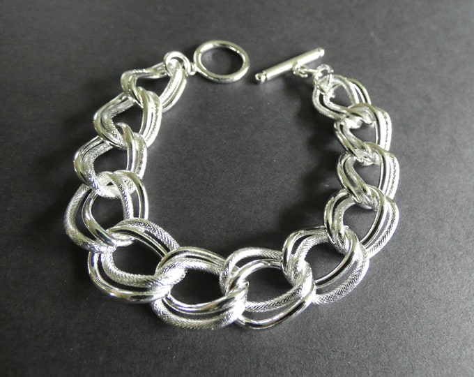 Brass Curb Chain Bracelet, Double Link, Metal Jewelry, Toggle Clasp, Metal Links, Classic Silver Color, Perfect For Adding Your Own Charms